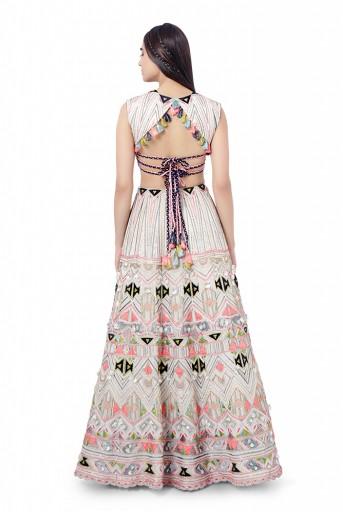 PS-FW748  Basira Chalk White Colour Georgette Embroidered Choli with Lehenga and Net Mukaish Dupatta