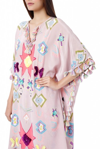 PS-FW782  Basri Pink Colour Printed Crepe Embroidered Short Kaftaan with Palazzo