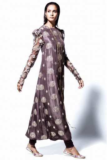 PS-FW391 Begum Gunmetal Grey Silk and Organza Kurta with Soft Net Churidar