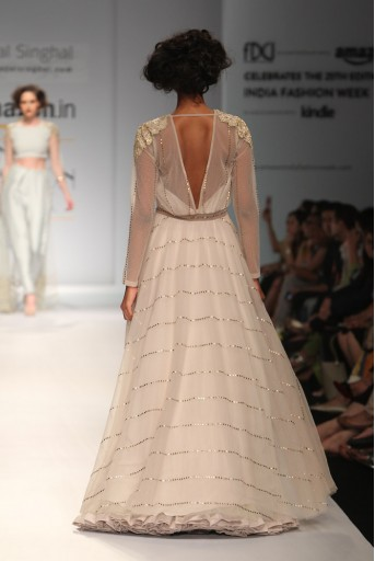 PS-FW332 Bella Stone mukaish Gown with Net under Skirt