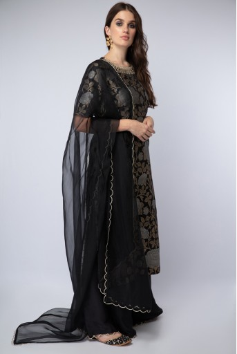 PS-ST1210 Black Banarsi Silk Kurta with Silk Palazzo and organza Dupatta