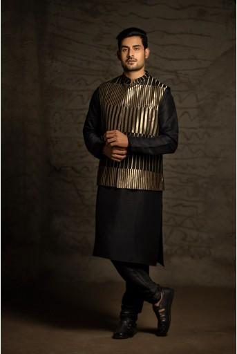 PS-MN037 Black Brocade Bandi with Black Silk Kurta and Cotton Silk Churidar