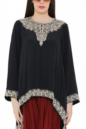 PS-KS0009-A  Black Colour Crepe High-Low Kurta with Chiffon Dupatta and Maroon Colour Crepe Salwar