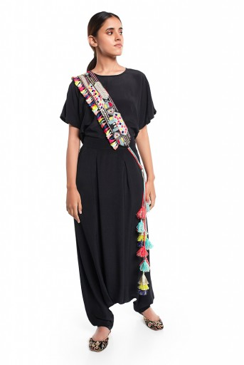 PS-PT0018  Black Colour Crepe Kaftaan Top and Low Crotch Pant with Black Colour Dupion Silk Embroidered Mask and Tie-Up Belt