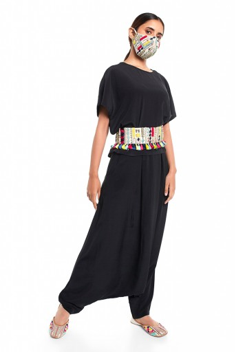 PS-PT0016  Black Colour Crepe Kaftaan Top and Low Crotch Pant with Stone Colour Dupion Silk Embroidered Mask and Tie-Up Belt