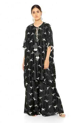 PS-KF0037  Black Colour Flamingo Patterned Banarsi Silk Kaftaan with Palazzo Pant