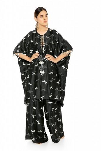 PS-KF0037  Black Colour Flamingo Patterned Banarsi Silk Kaftan with Palazzo Pant