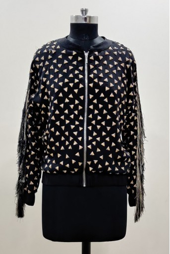 PS-JK0019-A-1  Black Colour Georgette Bomber Jacket