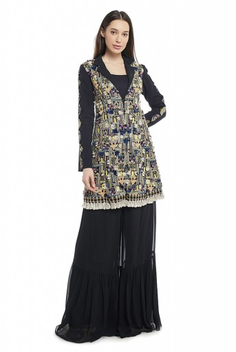 PS-FW656-B-1 Black Colour Georgette Jacket with Frill Palazzo