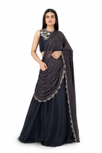 PS-ST0993-D-1  Black Colour Silk Choli and Lehenga with Attached Mukaish Georgette Drape Dupatta
