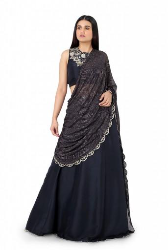 PS-ST0993-D-1  Black Colour Silk Choli and Lehenga with Attached Mukaish Georgette Drape Dupatta