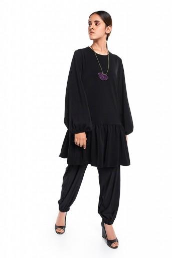 PS-TU1524  Black Colour Thick Georgette Frill Hem Tunic