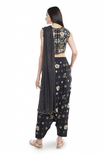 PS-FW538-F  Black Crepe Choli and Low Crotch Pant with attached Mukaish Georgette Drape Dupatta