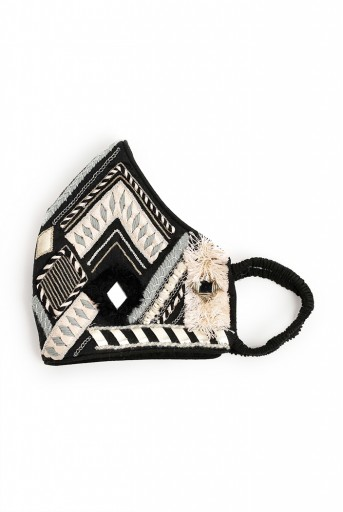 PS-MS0052  Black Dupion Silk Geometric Embroidered Mask