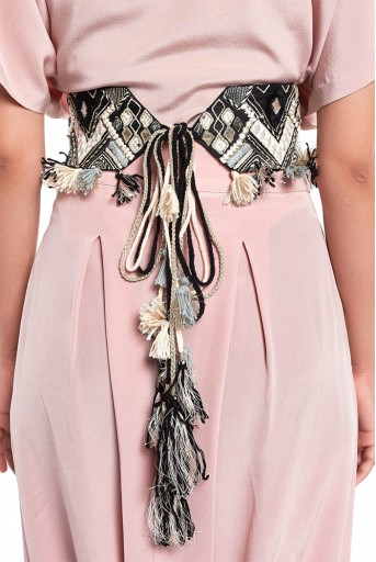 PS-BL002  Black Dupion Silk Geometric Embroidered Tie- Up Belt with Colourful Tassels