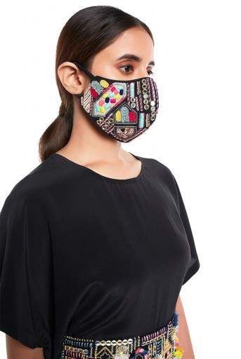 PS-MS0046  Black Dupion Silk Kutch Embroidered Mask