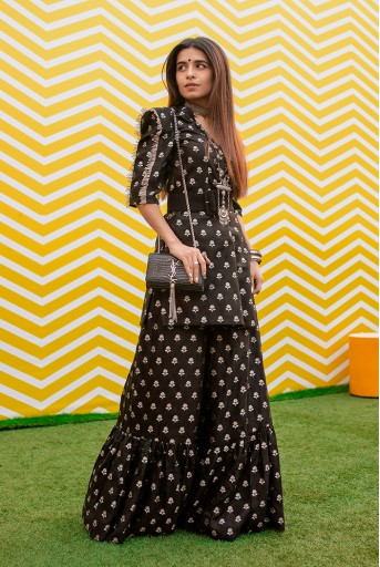 PS-KP0031  Black Colour Floral Chanderi Kurta and Palazzo