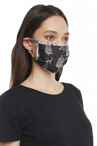 PS-MS0017 Black Pine Cone with Blush Jannat Print Pleated 3 Ply Mask with Pouch