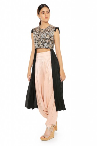 PS-ST1475  Black Silk High Low Kurta with Blush Silk Low Crotch Pants