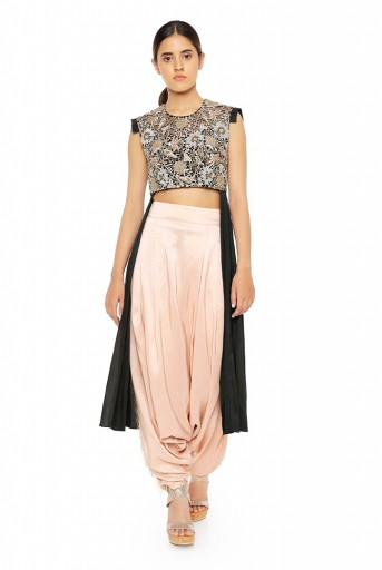 PS-ST1475-1  Black Silk High Low Kurta with Blush Silk Low Crotch Pants