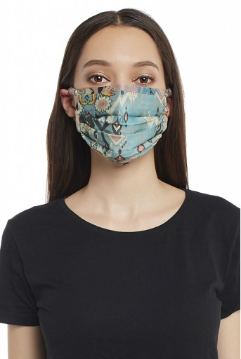 PS-MS0018 Blue and Pink Ikat Love Print Pleated 3 Ply Mask with Pouch