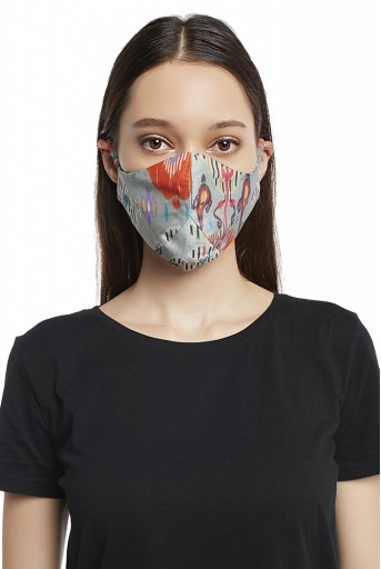 PS-MS0009 Blue and Stone Ikat Garden Print Reversible 3 Ply Mask with Pouch