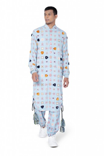 PS-FW795  Blue Colour Printed Art Crepe Kurta with Jogger Pant