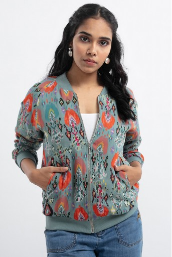 PS-JK0003-G  Blue Colour Printed Art Georgette Bomber Jacket