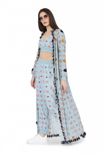 PS-FW794  Blue Colour Printed Art Georgette Duster Jacket with Art Crepe Bustier and Jogger Pant