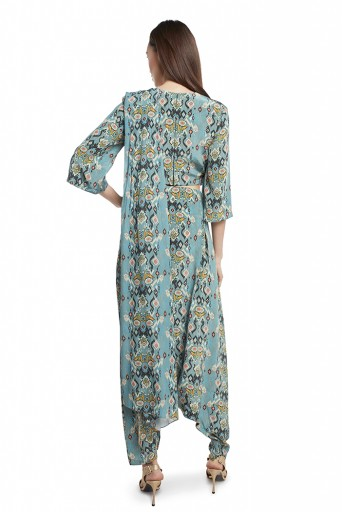 PS-ST1188-TT  Blue Colour Printed Crepe Crop Top and Low Crotch pant with Attached Blue Colour Printed Georgette Drape