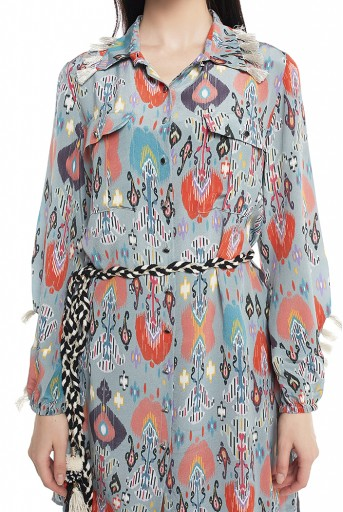 PS-PT0001  Blue Printed Crepe Shirt Kurta with Palazzo and Belt