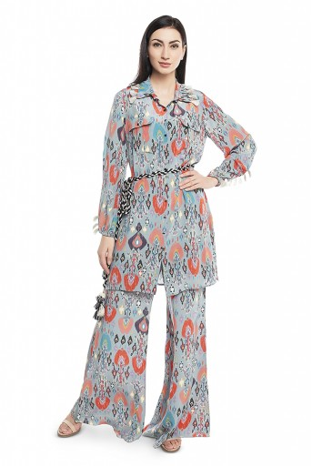 PS-PT0001-2  Blue Printed Crepe Shirt Kurta with Palazzo and Belt
