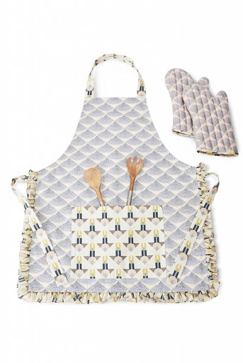 PS-AM0002  Blush and Cream Colour Printed Canvas Apron with Mittens and Pouch Set in Gift Box