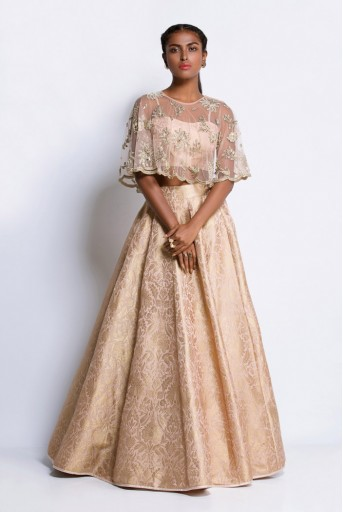 PS-ST0897 Blush Brocade Bustier and Lehenga with Net Cape