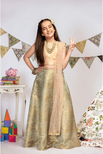 PS-KG0013 Blush Brocade Choli with Mint Brocade Lehenga and Blush Mukaish Net Dupatta
