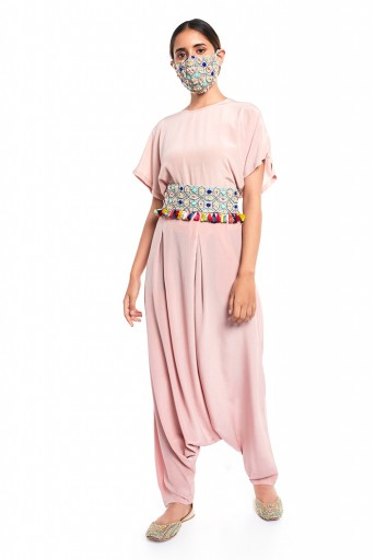 PS-PT0019  Blush Colour Crepe Short Kaftaan Top and Low Crotch Pant with Pale Blue Colour Crepe Embroidered Mask and Tie Up Belt