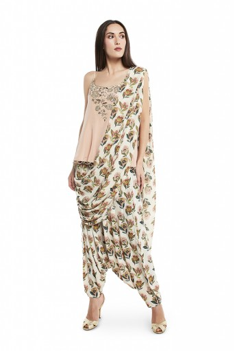 PS-ST1330-2  Blush Colour Crepe Short Kurta with Cream Colour Printed Crepe Low Crotch Pant with Cream Colour Printed Georgette Attached Drape Dupatta