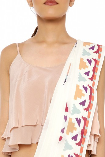PS-ST1207-EE-1  Blush Colour Crepe Two Layer Top with Cream Printed Georgette Saree