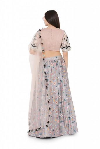 PS-LH0022  Blush Colour Dupion Silk Choli with Net Dupatta and Grey Colour Printed Dupion Silk Lehenga