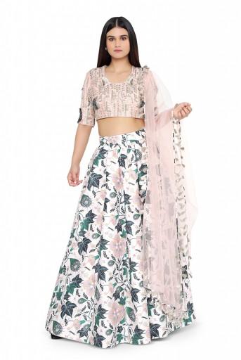 PS-LH0024-B  Blush Colour Dupion Silk Choli with White Printed Lehenga and Blush Net Dupatta