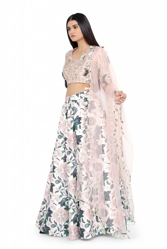PS-LH0024-B-1  Blush Colour Dupion Silk Choli with White Printed Lehenga and Blush Net Dupatta