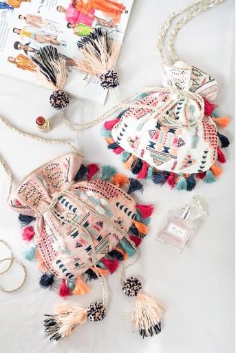 PS-PTL010  Blush Colour Dupion Silk Souk Embroidered Sling Potli Bag