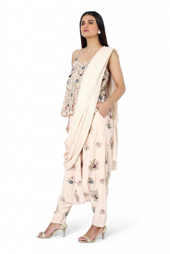 PS-FW581-F  Blush Colour Georgette Top with Crepe Low Crotch Pant and Attached Mukaish Georgette Drape