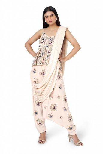 PS-FW581-F-1  Blush Colour Georgette Top with Crepe Low Crotch Pant and Attached Mukaish Georgette Drape