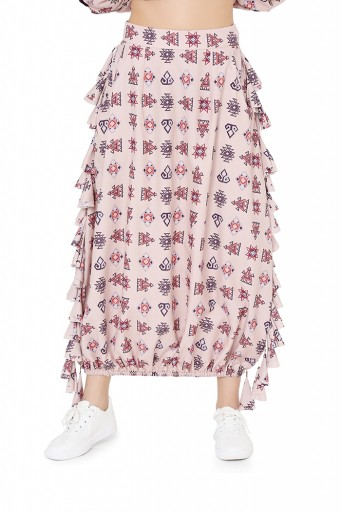 PS-FW798  Blush Colour Printed Art Crepe Oversized Top with Balloon Skirt