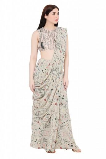 PS-SR0009  Blush Colour Silk Choli with Khaki Printed Georgette Saree