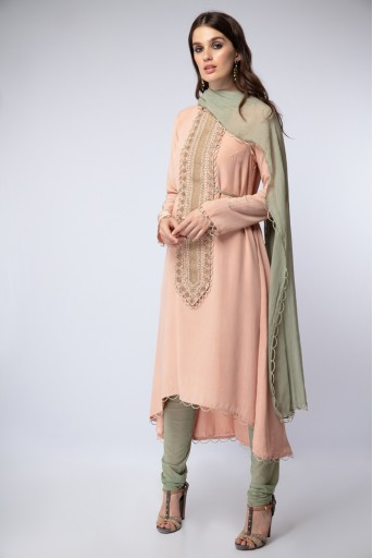 PS-FW469-E  Blush Colour Crepe High-Low Kurta with Mint Colour Soft Net Churidar and Chiffon Dupatta