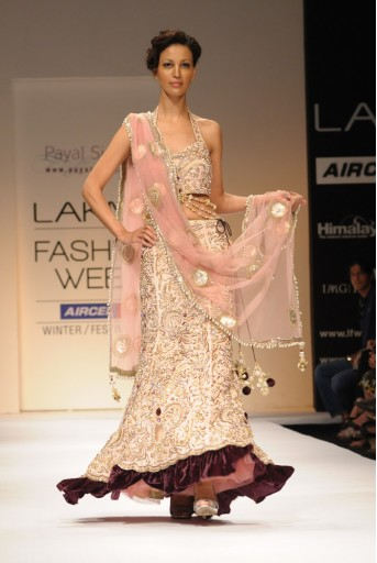 PS-FW121 Blush Crepe Vintage Lehenga and Choli with Dupatta