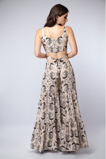 PS-ST1204 Blush Printed Crepe Tie-up Choli with Sharara and Blush Organza Dupatta with Black piping
