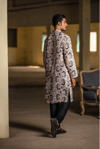 PS-MN087 Blush Printed Silk Kurta with Off White Cotton Silk Churidar